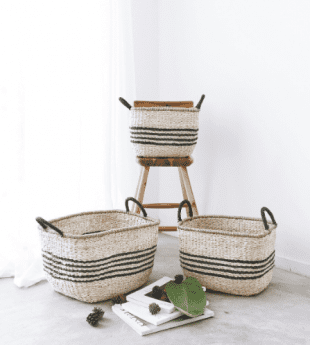 Greenery Natural Stripes Basket 11