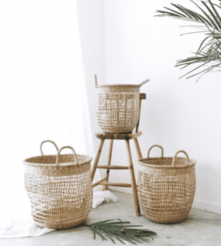 Greenery Open Weave Laundry Basket 17