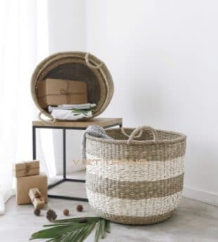 [Best Selling] Greenery Seagrass Storage Basket With Handles 05