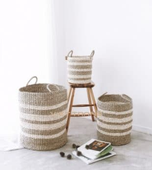 Greenery Seagrass Storage Basket With Handles 08