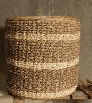 Mekong River Handwoven Round Pouf 05