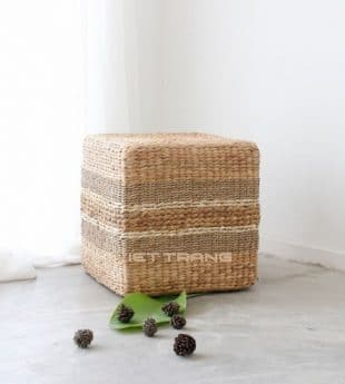 [Best Selling] Greenery Seagrass Ottoman Cube 01