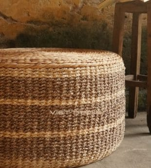 Mekong River Seagrass Ottoman Round 05 Wholesale