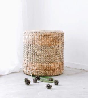 [Best Selling] Mekong River Seagrass Pouf Ottoman 01