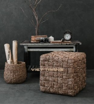 [Best Selling] Wovenery Seagrass Ottoman Cube 01