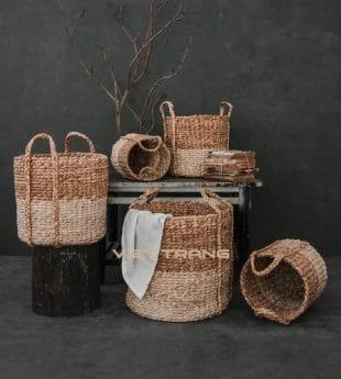 [Best Selling] Wovenery Water Hyacinth Basket With Handles 13